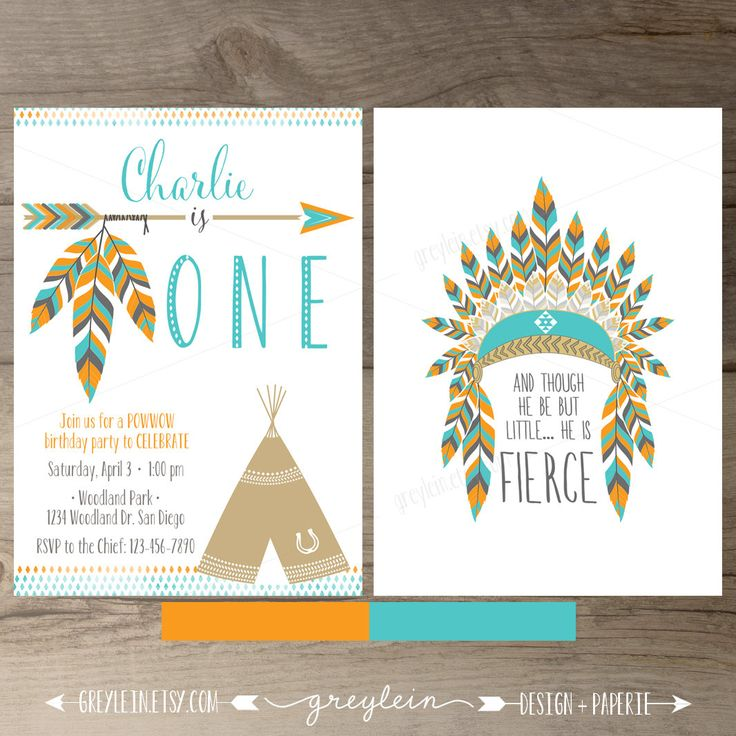 Pow wow Birthday Party Invitations • ONE • arrows feathers tribal native teepee • Orange Turquoise • DIY Printable by greylein on Etsy https://www.etsy.com/listing/226828406/pow-wow-birthday-party-invitations-one