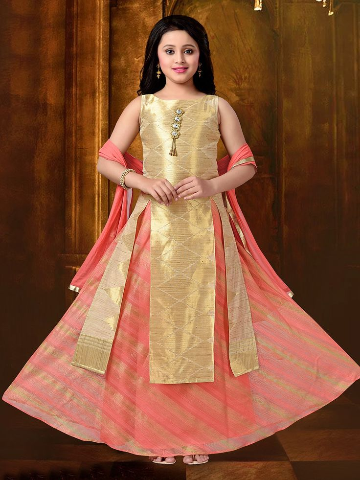 Gold And Peach Silk Lehenga Choli