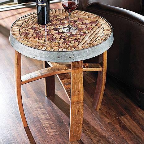 Wine cork topped barrel stave bar stool