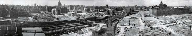 A composite panorama of London after the blitz. Photograph: London Metropolitan Archives / City of London Police / London County Council Bomb Damage Maps 1939-1945 (Thames & Hudson) Blitzed, rebuilt and built again: what became of London's bomb sites?