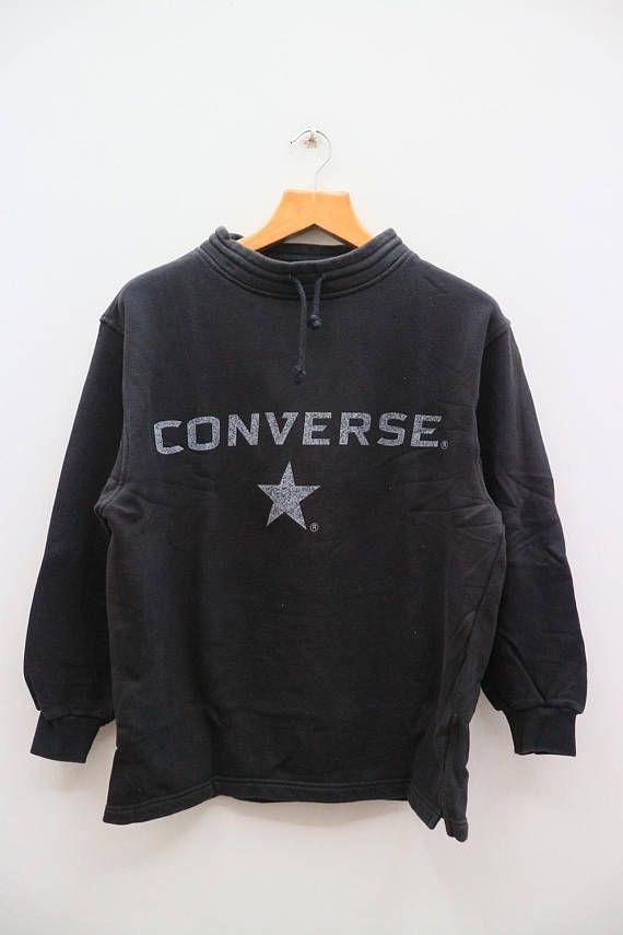 07ccb2993d4 Vintage CONVERSE All Star Chuck Taylor Big Logo Black Pullover ...