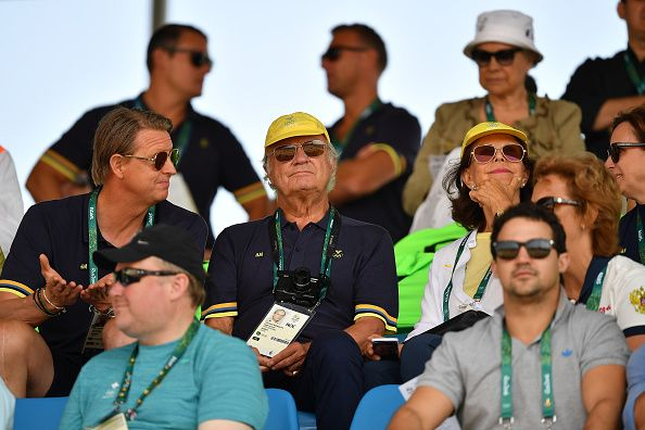 Olympic Committee President of Sweden Hans Vestberg King Karl Gustaf of Sweden and Queen Silvia of Sweden attend the Equestrian Jumping individual...