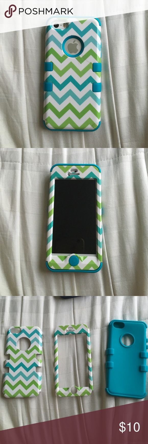 Phone case for IPhone 5/5c/5s This is a super cute IPhone case for IPhone 5/5c/5s!!! It's a knock off otter box with a cute chevron design in colors blue, light blue, green and light green! The first layer is blue rubber and the second is a hard plastic for double protection! The back piece does have 4 small cracks in the middle but nothing major and still works perfect. Great condition!!! Accessories Phone Cases