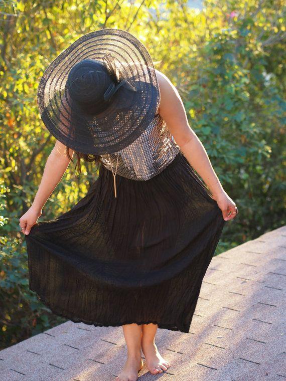 Sheer black festival maxi skirt by DistrictVintageLA, $30.00