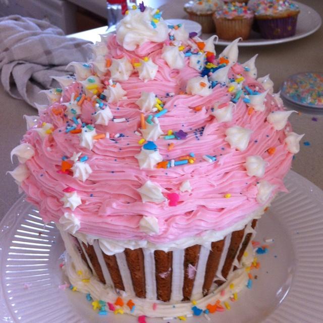 Giant cupcake! It's really easy to make. Buy the Wilton 2105-5038 Large Cupcake Cake Pan.