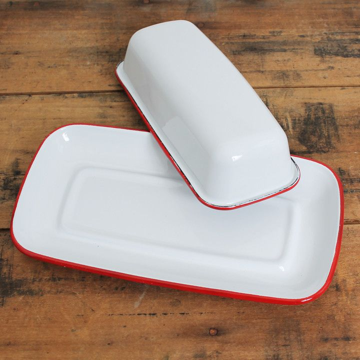 """The vintage-style butter dish comes in 2 colors and measures 8.5""""L x 4.5""""W. Vintage-style enamelware is oven and dishwasher safe."""