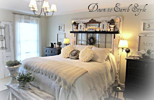 Love her decor...like this shelf over bed; can put votive candles on it.