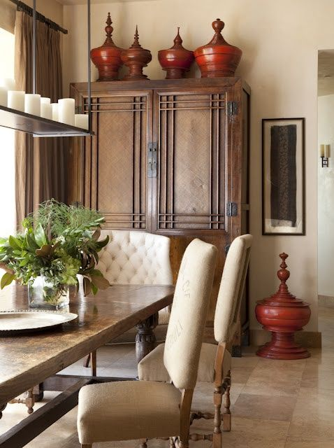 Great tutorial on how to decorate and how NOT to decorate the empty spaces above kitchen cabinets, shelves, and large furniture.