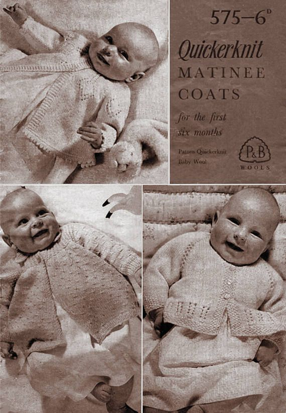 Pdf Vintage 1950s P & B 575 Baby FIRST Matinee Coats Knitting