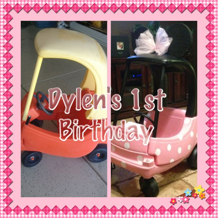 Before & After. Pale Pink Polka Dot DIY Minnie Mouse Cozy Coupe Car Upcycle for babygirls 1st Birthday Decor / Centerpiece