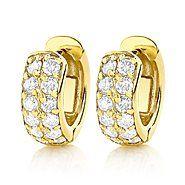 Diamond Hoop Earrings 14K Gold 1 Carat Diamond Huggie Earrings