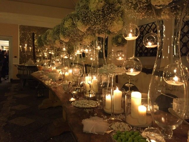 Sweet table..hydrangea, candles and love..