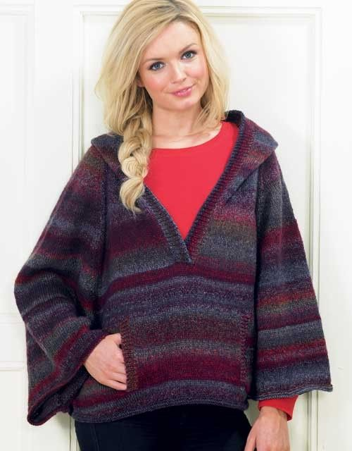 Knitting Pattern for Hooded Poncho with Sleeves - #ad Stay cozy in this roomy, hooded cape with deep raglan sleeves and kangaroo pocket. Great with multi-color yarn tba