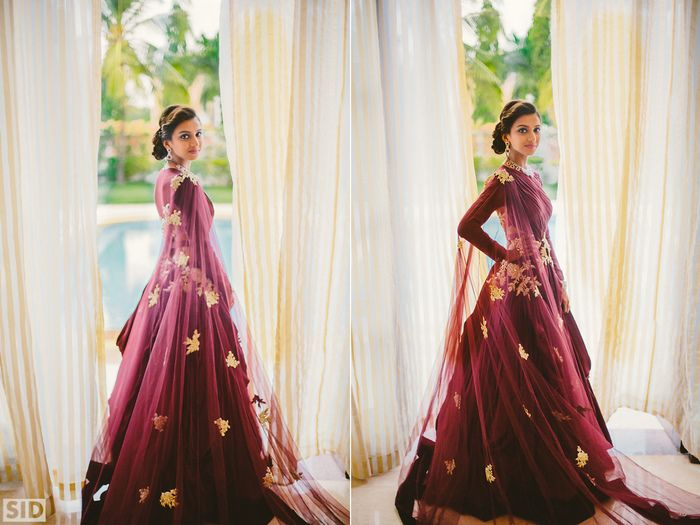 What's the recipe for a perfect Goa wedding? A stunning mandap by the sea , a shimmery seafoam lehenga and photographs that capture all the madness. We loved Rajvi's style- from her banarasi outfit on the mehendi to the edgy marsala cocktail gown and ofcourse that gorgeous lehenga at th