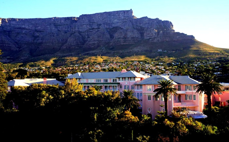 The landmark Mount Nelson Hotel, which nestles beneath Table Mountain in Cape Town.