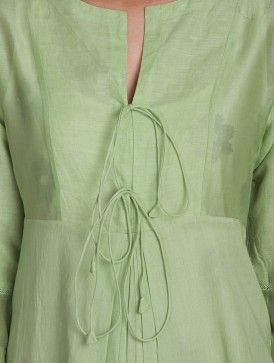 Green Round Neck Tie-Up Front Cotton-Linen Kurta with Lining (Set of 2)