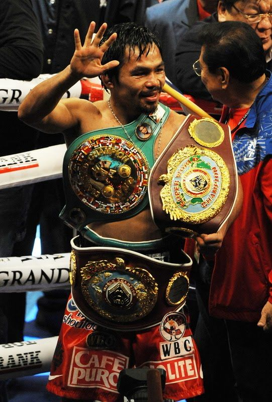Manny Pacquiao - Came from the slums of the Philippines and went on to become the first 8 division world champion. 8 WEIGHT CLASSES? Incredible. Never ducks an opponent. Fights anyone, big or small. And he still remains humble as ever. A true inspiration. A true legend and champion. One of my all time favourites.