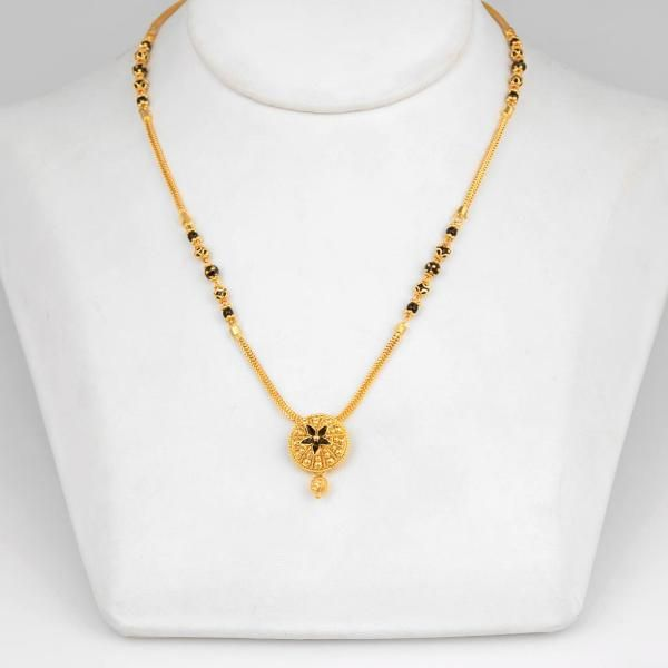 Gold Small Mangalsutra Designs with Price, Short Gold Mangalsutra Models, 22K Gold Small Nallapusalu Designs.