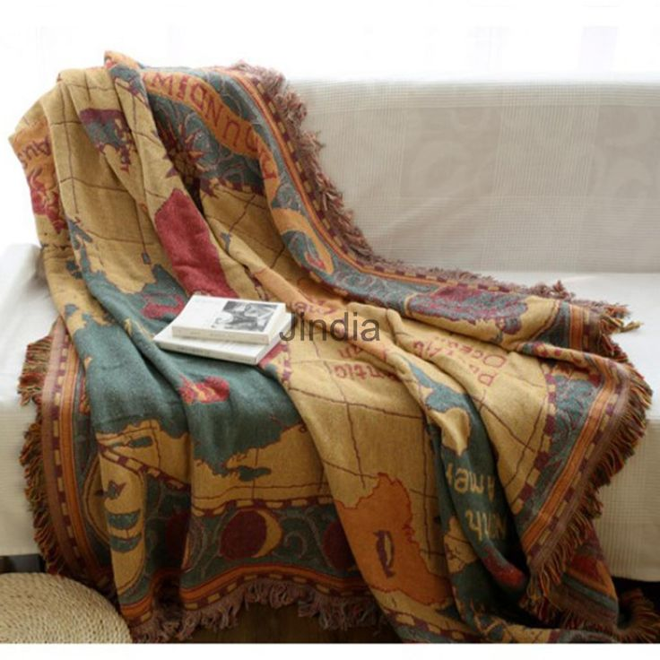 Jacquard Textiles, Soft Sofa Throw Cover Cotton Armchair Bed Blanket - Map