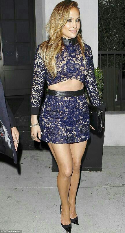 Jennifer Lopez *steal her style* JLos fab lace two piece is arriving this week!  #cantwait