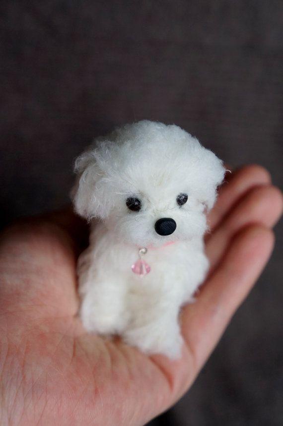 Needle Felted Maltese Dog, Wool Maltipoo Puppy, Felt