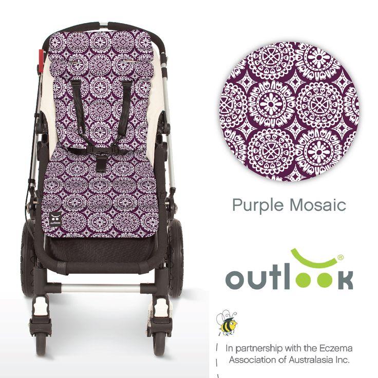 Outlook Cotton Pram Liner Purple Mosaic