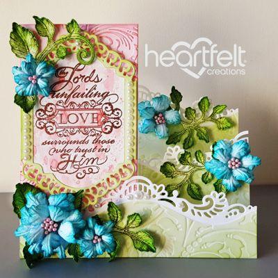 Heartfelt Creations - Teal Rose Foldout Card Project