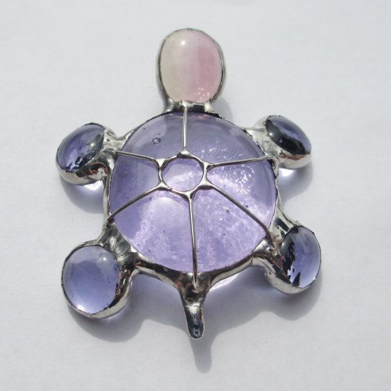 Little Purple  Stained Glass Turtle -3D Home Decor