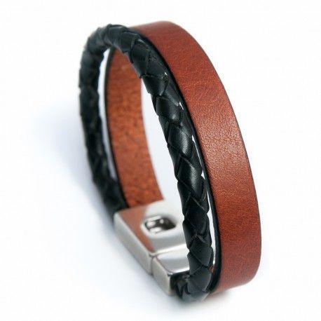 Bracelet homme cuir vert