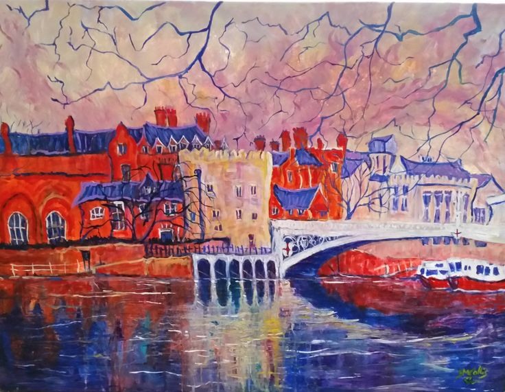 Lendal Bridge (York), Original Yorkshire City Painting, Acrylic, Canvas, Hand Painted by Donna Collis by WillauStudios on Etsy