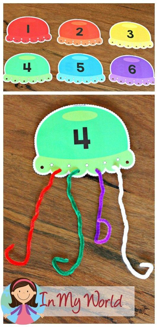Gratuito Ocean Centros de preescolar contando tentáculos de las medusas