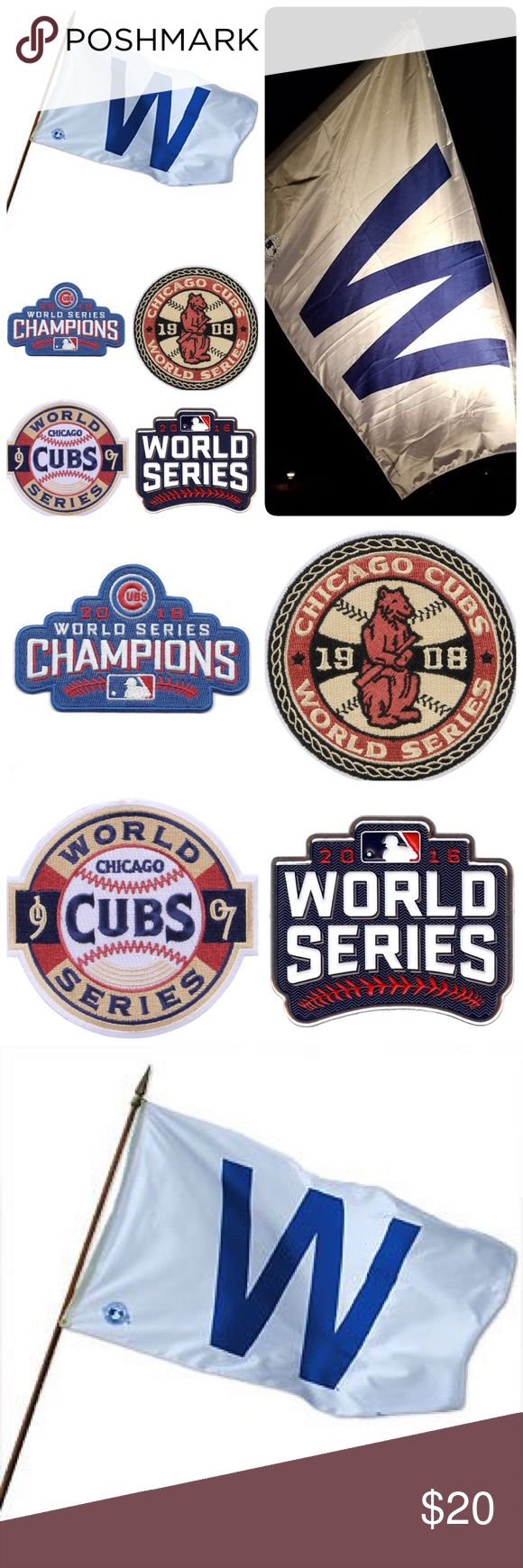 """Chicago Cubs W House Flag & World Series Patch Set Looking for the perfect Christmas gift for that huge Cubs fan? Look no further! Get them this """"W"""" Win House Flag and World Series Patch Collection! Flag is 3ft by 5ft, made of 100% polyester and attaches to any flagpole. The Patch Collection features fully embroidered patches celebrating the Cubs World Series Championships in 1907, 1908, and 2016! I have tons of these available and my prices are dirt cheap. Please check my other listings for…"""