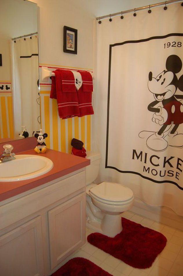 40 Adorable Home Disney Decoration Ideas Kid Bathroom Decor Mickey Mouse Bathroom Mickey Bathroom Disney mickey mouse bathroom decor