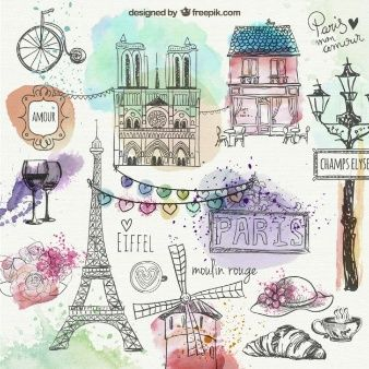 Paris hand drawn doodles