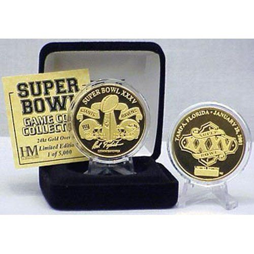 "NFL 2001 Ravens Vs. Giants Super Bowl XXXV (35) Flip Coin by Highland Mint. $42.65. Package Dimensions: 8"" x 4"" x 1"". Mintage: 5000. Football. Coins commemorate each Super bowl played! Individually numbered, features Super bowl logo for that year as well as location and date of the game. Triple struck to feature the finest detail. 24kt Gold overlay, coins combine a beautiful mirrored and frosted finish. 1.5 Inches diameter presented in a capsule to preserve its mint cond..."