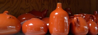 Heath Ceramics: saturated in shades of the Golden Gate Bridge's famous hue...