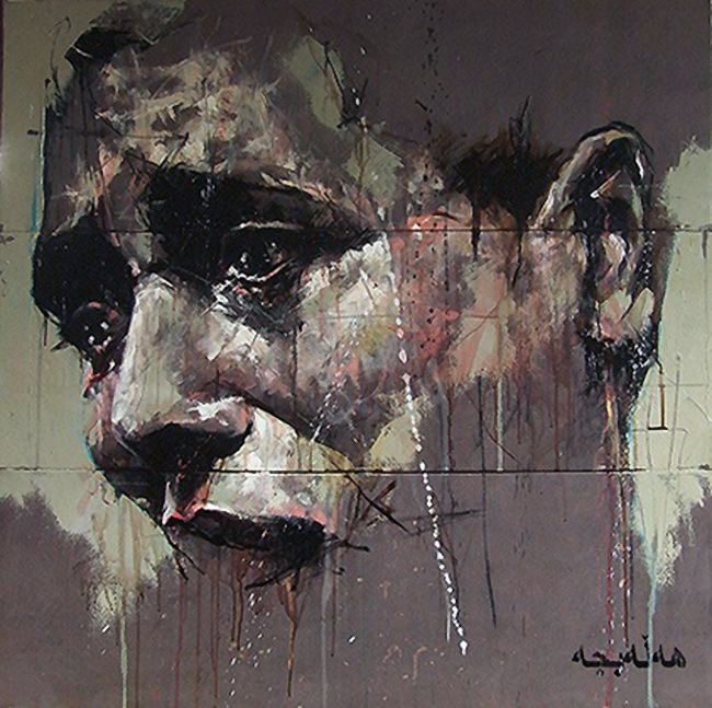 """Halabja"" - Guy Denning, 2009, oil on canvas {contemporary #expressionist artist male man portrait smudged texture abstraction grunge painting} Sadness !!"
