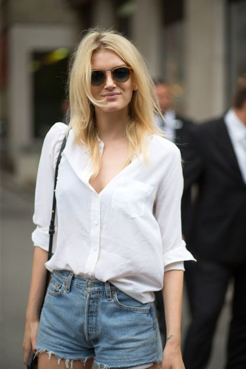 white shirt & cutoffs. #LilyDonaldson #offduty in Paris.