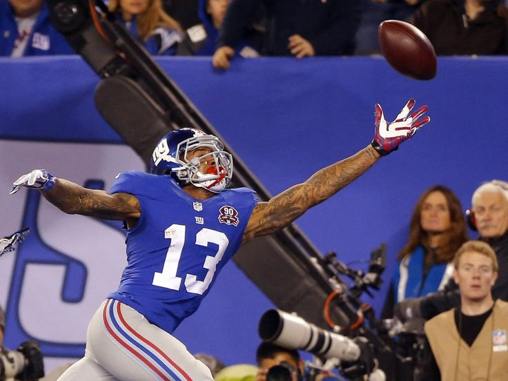 Odell Beckham Jr. #13,  famous for one-handed-catches. Touchdown, OBJ!