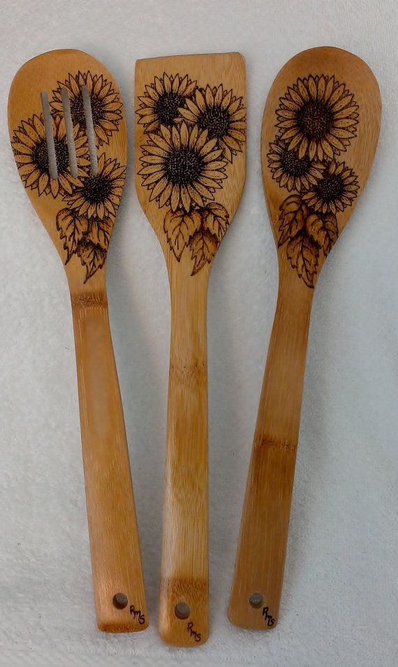 Sunflower Utensil Set By Kitchensmiles On Etsy 28 00