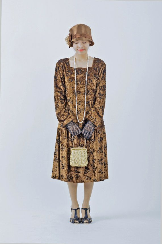 1920s Great Gatsby dress  Downton Abbey dress brown 20s drop wait dress $130.00 AT Vintagedancer.com