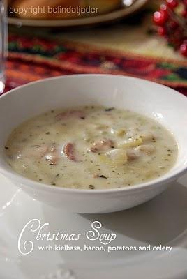 Christmas soup with kielbasa, bacon, potatoes and celery