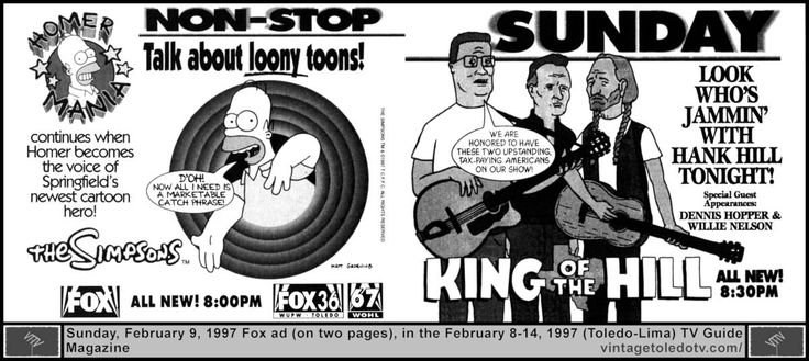 """Vintage Toledo TV - FOX - Non-Stop Fox Sunday Night Shows (2/9/97 TV Guide ad on 2 pages) The Simpsons, """"The Itchy & Scratchy & Poochie Show"""" and King of the Hill, """"Hank's Got the Willies"""" (Dennis Hopper, Willie Nelson)."""