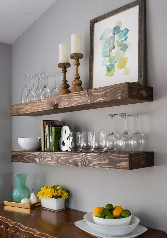 Minimalist Floating Wooden Shelves using DIY Dining Room Storage Ideas above Oak Cabinet on Grey Painted Wall | Ideas 4 Homes