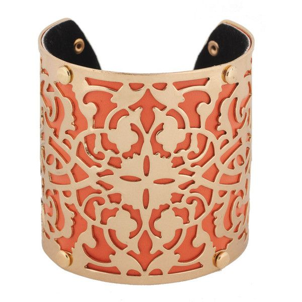 FOREVER 21 Filigree Cuff ($2.99) ❤ liked on Polyvore featuring jewelry, bracelets, accessories, orange, cuff, cuff bracelet, bracelet bangle, orange bracelet, filigree cuff bracelet and polish jewelry
