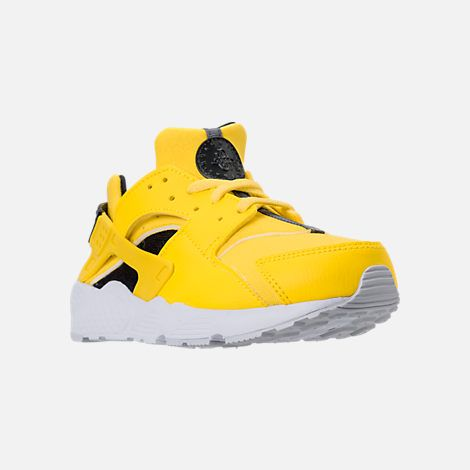 ea71ffe668 Three Quarter view of Boys' Preschool Nike Huarache Run Running Shoes in Tour  Yellow/Anthracite/White/Pure Platinum