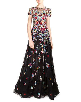 Floral Applique Tulle Gown by Zuhair Murad at Neiman Marcus.