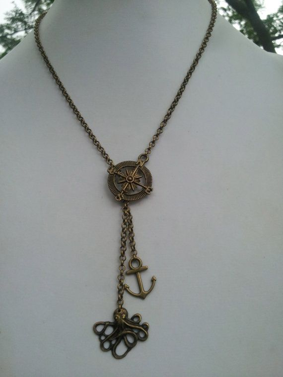 Bronze Nautical Necklace with Octopus Compass Anchor and by dgowin, $25.00