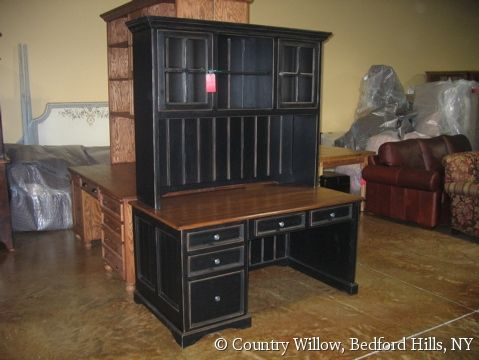 Country Style Office Furniture. Distressed Black Finish Country Style  Custom Desk With Hutch  Willow