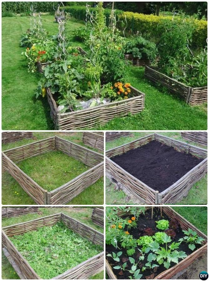 Weave Branches Nestling Lasagna Raised Garden Bed Edging - 20 Creative Garden Bed Edging Ideas Projects Instructions